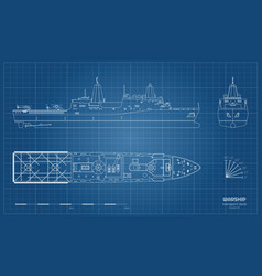 outline blueprint military ship top front vector image