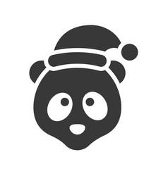 panda wearing santa hat silhouette icon design vector image