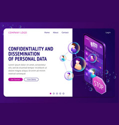 Personal data protection isometric landing page vector