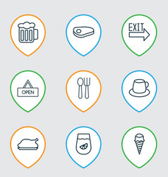 restaurant icons set with beef tea exit sign and vector image