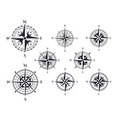 retro compass wind rose nautical direction icons vector image