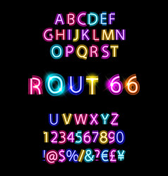 rout 66 neon font vector image
