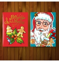 Santa Claus hand drawn portrait vector image