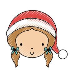 Scribble christmas little girl vector