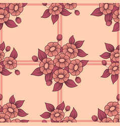 seamless coral flowers lattice background vector image