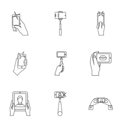 Selfie icons set outline style vector