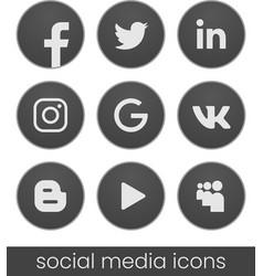 set of circle popular social media logos dark vector image
