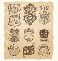 set of love vintage badges in sepia vector image