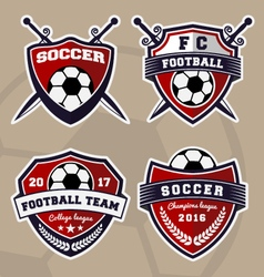 set soccer football badge logo design vector image
