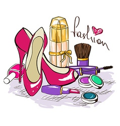 set womens cosmetics perfume and shoes vector image