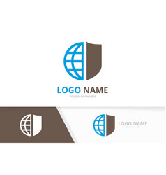 shield and earth logo combination security vector image