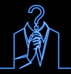 Single line person anonymous neon concept vector