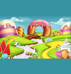 Sweet landscape 3d background vector