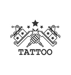 Tattoo salon label with two crossed mechanic ink vector