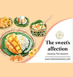 Thai sweet frame design with golden threads vector