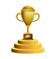Trophy cup on podium symbol vector