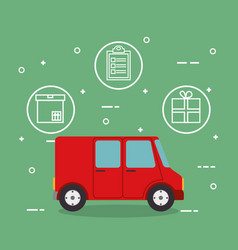 truck with delivery service icons vector image