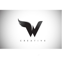 w letter wings logo design with black bird fly vector image