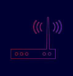 wifi modem sign line icon with gradient vector image