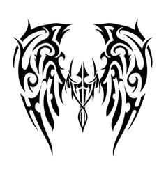 Wings tattoo in tribal art style angel wings vector