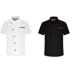 black and white chef shirt cook uniform vector image