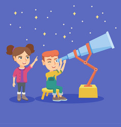 caucasian boy looking at stars through a telescope vector image