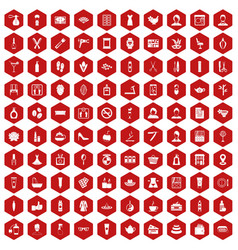 100 beauty salon icons hexagon red vector image vector image