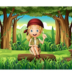 A forest with a young girl sitting above a log vector