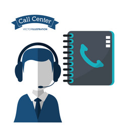 call center man assistance directory contact vector image vector image