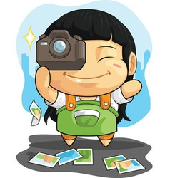 Cartoon of Girl Loves Photography vector image