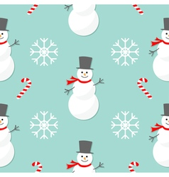 Christmas snowflake candy cane smowman wearing hat vector
