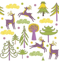 deer forest wallpaper vector image
