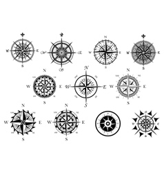 Nautical wind rose and compass icons set vector image vector image