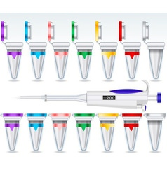Eppendorf Opened and Closed Multicolor Set and vector image vector image