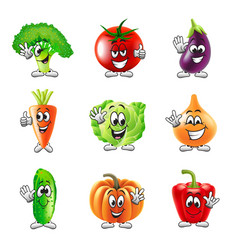 Funny cartoon vegetables icons set vector image