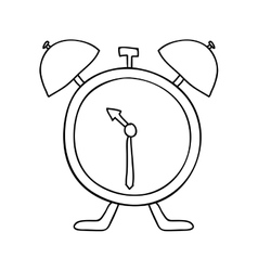 hand drawing with antique alarm clock vector image