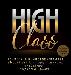 high class golden alphabet letters set vector image