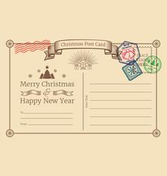 old christmas holiday postcard with santa vector image