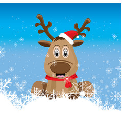 raindeer is sitting on the snow and in front vector image vector image