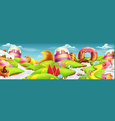 sweet landscape panorama 3d background vector image