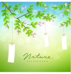 tree and pink flower with white paper card vector image