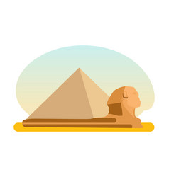 amous ancient egyptian pyramid cheops and sphinx vector image