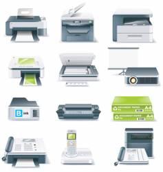 computer parts icon set vector image vector image
