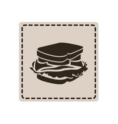 emblem sticker sandwich icon vector image vector image