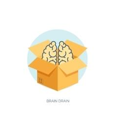 Flat carton box with brains Brain drain vector image