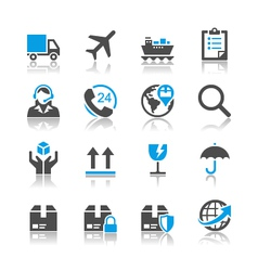Logistics and shipping icons reflection vector
