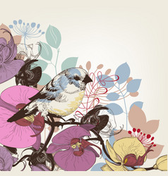 orchid and cute bird greeting card vector image vector image