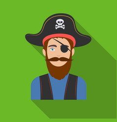 pirate with eye patch icon in flat style isolated vector image
