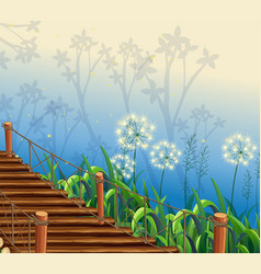 scene with grass and wooden bridge vector image