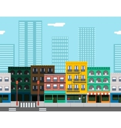 Seamless City Street Concept Flat Design Town vector image